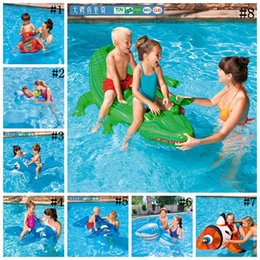 Wholesale Large Inflatable Animals - kids Inflatable Pool Float Raft Boat Summer Outdoor Swimming Pool Party Lounge Raft Ride-On Water Toys 100pcs OOA2071