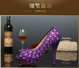 Wholesale Yellow Bridal Peep Toe Heels - Rhinestone Peep Toe Crystal High Heel Wedding Shoes Silver Bridal Dress Shoes Woman Nightclub Party Banquet Dress Shoes