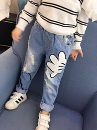 Wholesale Kids Girl Ripped Jeans - Everweekend Kids Girls Fashion Western Ripped Denim Pants Cute Palm Baby Jeans Pockets Long Length Children Full Length Western Casual Pants