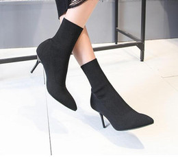 Wholesale thin ankle toe socks - 2017 winter and winter new knitted sweater, stretch boots, European station, pointed high-heeled shoes, women's heel socks, free shipping