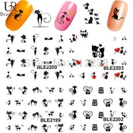 Wholesale Decals Foil Nail Art - Wholesale- 1 sheet Black Cute Sexy Cat Design Water Transfer Foil Printing Nail Art Sticker Decals Decorations DIY Nail Styling Tools #BLE