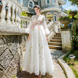 Wholesale Embroidered Tulle Evening Gowns - SSYFashion New White Lace Evening Dress Sweet Flower Fairy Half Sleeved Floor-length Sweep Train Embroidery Elegant Prom Party Gown
