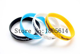 Wholesale Day Heating - Heat! New Have happy day Sports wristbands 100% silicone Gym Fitness bracelet can be delivered free of charge wholesale 50pcs