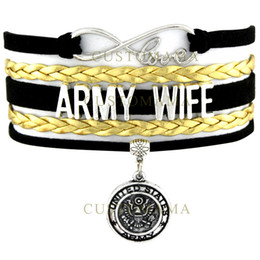 Wholesale Dropshipping Bracelet - Wholesale- (10 PCS Lot) Infinity Love United States Army Wife Charm Wrap Bracelet Black Gold Suede Leather Custom any Themes Dropshipping
