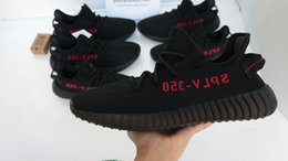 Wholesale Black Socks Wholesale - Factory 350 V2 Sply Core Black Red BY9612 Limited Zebra Real Boost 350 With Box Socks Kanye West Running Shoes Size 36-46