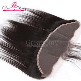 haarteilverschluss Rabatt Greatremy® 8A 13 * 2 Spitze Frontals Closure Brasilianische Jungfrau-Menschenhaar-Verlängerungen Ohr zu Ohr Natürliche Farbe 8-20inch Haarteile