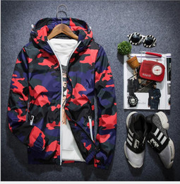 Wholesale Fat Clothes - Reflective spring and autumn men plus fat to increase code sports camouflage coat tide fat fat guys T-shirt men loose clothes