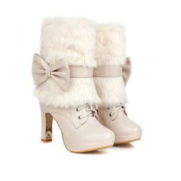 Wholesale Thermal High Heel - Two Ways Wear Autumn Winter Fashion Women High Heel Short Boots Female Thermal Cute Bow Martin Snow Boots Shoes 34-39