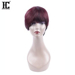 Wholesale Wigs Short Hair Red - HC Hair Bob 1B 99J Burgundy Ombre Human Hair Wig Short Bob Wine Red Wig Straight 10 inch Human Bob Hair For Women
