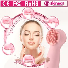 Wholesale Cleansers For Face - Skineat Face Cleansing BrushCute Bueaty Silicone Private Mould facial clean machine for anti-acne oil dirt Blackhead SPA Scrub Cleanser Tool