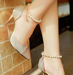 Wholesale Silver Beaded Heels - Spring and summer new high - heeled sandals women beaded pointed silver women 's shoes with a single shoes Korean wild shoes