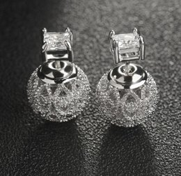 Wholesale Earring Needles - 2017 new European 925 silver needle hollow carved small ball stud earrings female crystal from Swarovski simple temperament wild anti-allerg