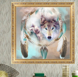 Wholesale Canvas Paintings Crosses - DIY Diamond Painting Cross Stitch Wolves Picture Mosaic Pictures for Living Room Diamond Embroidery Hand Made Diamond Paintings A1973