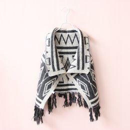 Wholesale Ponchos Capes Children - 2017 New Autumn Winter Girls Tassel Poncho Cute Baby Girl Geometric Plaid Knitting Cape Outwear Kids Princess Shawl Children Coats 5pcs lot
