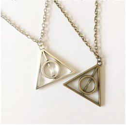 Wholesale Cheap Triangle Necklaces - Popular Harry Potter Necklace Long Deathly Hallows Triangle Circle Pendant Necklaces 2016 Fashion Movie Jewelry Cheap price