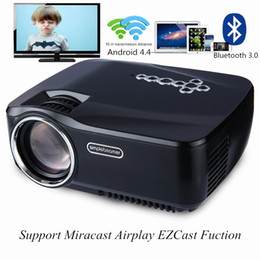 Wholesale Android Home Tv - Wholesale-GP-70UP LED Projector Android 4.4 Tv box tv Full HD DLAN WIFI Bluetooth 3.0 Support Miracast Airplay EZCast Multilanguage Beamer