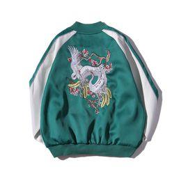 Обратимые покрытия онлайн-2017 Новая весна вышивка куртка мужчины пальто зеленый бомбардировщик куртка пальто женщины пилоты обратимым верхняя одежда для подростков пары S-2XL