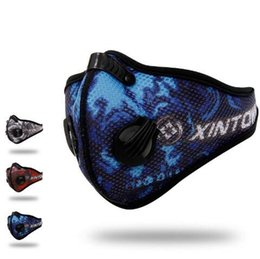 Wholesale Blue Activated Carbons - 3 Colors Riding Breathable Mask Mesh Yarn Activated Carbon Dust Masks Dustproof Warm Comfortable Stomatal Tactical Masks CCA6765 100pcs