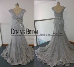 Wholesale Grey Mermaid Dress - 2017 Grey Prom Dresses Mermaid V Neckline Beaded Ruched Tulle Over Lace Court Train Evening Gowns Real Images