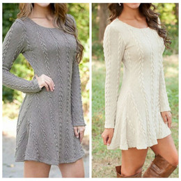 Wholesale Long Sleeve Knit Mini Dresses - Sweater Dress Women Knitted Pullovers Long Sleeve Knitwear Fashion Knits Winter Casual Tees Lady A Line Jumper Mini Dress Top Clothing F628