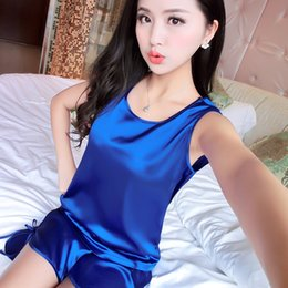 Wholesale Womens Black Silk Sleepwear - Womens Silk Sleeveless Pajamas Shorts suit Summer Nightgowns Comfy Pajamas Pretty Nighties Artificial Silk Sleepwear Sets WD058
