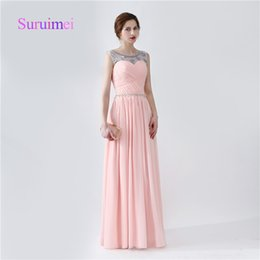 Wholesale Colorful Evening Gowns - Elegant Scoop A Line Pink Colorful Prom Dresses with Crystal Sequins Vestidos de Noiva Formal Evening Gowns Lace-up Designs