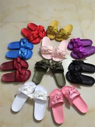 Wholesale Beach Print Fabric - Rihanna Fenty Bandana Slide Wns Bowtie Women Slippers Beach Shoes 10 Colors Summer New Arrival BOW SATIN SLIDE SANDALS With Box Dust Bag