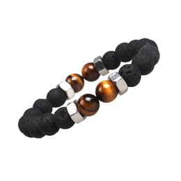 Wholesale Tiger Eye Bracelet For Women - Fashion Natural Stone Tiger Eye Bracelets Lava Stone Essential Oil Diffuser Bracelet for Men Women Jewelry