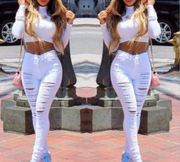Wholesale High Waist Woman Stretch Jeans - 2017 new Europe and the United States women big hole female han edition torn Skinny jeans stretch feet high waist pants for women