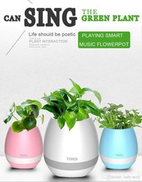 Wholesale Real Audio Music - 2017 NEW hot bluetooth Smart Music Flower pots intelligent real plant touch play flowerpot colorful light