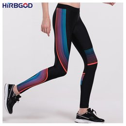 Wholesale Tights Color Stripes - Wholesale- HIRBGOD Women Yoga Pants High Waisted Elastic Color Stripe Printed Pants Sports Running Tights Training Leggings For Gym ,HT009