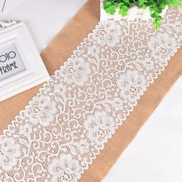 Wholesale Wholesale Table Linens Weddings - 30x180cm Lace Burlap Jute Table Runner Wedding Party Table Decoration Solid Color Linen Table Runners wen4468
