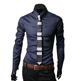 Wholesale Wholesale Men Business Shirts - Wholesale- Spring Autumn Fashion Geometric Men Shirt Casual Long Sleeve Tops Luxury Blouse Formal Business Camisa Social Masculina Oct13