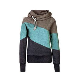 Wholesale Collared Hoodies Girls - epacket Free Shipping Girls Women's Patchwork Pullovers Full Sleeves Shawl Collars Hoodies Casual Slim Thin Sweatshirts