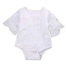 Wholesale Girls Short Floral Jumpsuit - 2017 Summer Ins Baby Girl White Lace Rompers Infant Toddlers Floral Fly Sleeve One Piece Jumpsuit Baby Batwing Sleeve Rompers