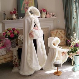 Wholesale White Winter Hooded Wedding - Plus size Winter 2017 Bridal Shawls Jackets Cape Faux Fur Christmas Cloaks Hooded Perfect Wedding Wraps Abaya Wedding Dresses