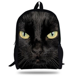 Wholesale Animal Zoo Backpacks - 16-inch Black Cat Backpack Animal Bags Women Children School Bags Girls Teenager Mochila ZOO Animals print Bag boys Backpack