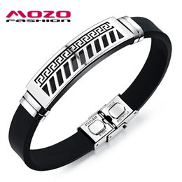 Wholesale Great Wall Box - Wholesale-New 2016 Fashion Man Stainless Steel Bracelet Silicone Rubber Wristband Great Wall Pattern Vintage Bracelets Men Jewelry MPH1090