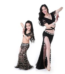 Wholesale Girls Belly Dance Skirt Costume - 4 Colors Women and girls lace belly dance costumes for girls floral print top+long skirt suit 2017 women exercise belly dance suits FN077