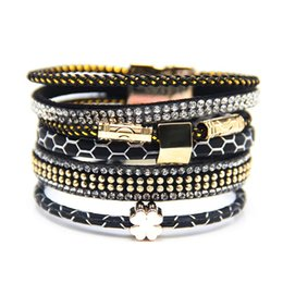 Wholesale Buckle Tree - Wholesale- 2016 Boho Leather Bracelets Bangles with Magnetic Buckle Wrap Jewelry tree of life Pulsera for Women brazaletes pulseras mujer