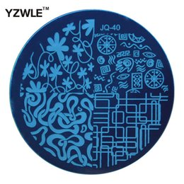 Wholesale Nail Art Stamping Stencils - Wholesale- YZWLE 1 Pcs Stamping Nail Art Image Plate, 5.6cm Stainless Steel Nail Stamping Plates Template Manicure Stencil Tools (JQ-40)