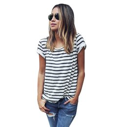 Wholesale Stripe Tees For Women - Wholesale- 2016 New Arrival Women Casual Stripe Short Sleeve T-shirt Fashion Summer Loose O Neck Tops Shirt Tee Tops Clothing For Women
