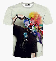 Wholesale Funny Tshirts Men - 2017 New Fashion men women clown gun funny 3d t shirt casual o-neck print cartoon short sleeve tshirts tops cool clothing