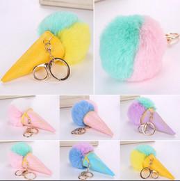 Wholesale Ice Rabbit - Double Color Ice Cream Cone Key Chains Girl Chromatic Faux Rabbit Fur Pendants Car Artificial Fur Key Rings LJJO3482