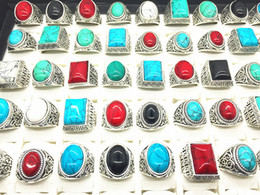 Wholesale vintage turquoise band ring - Turquoise Gemstone Ring Mix Style Antique Silver Vintage Stone Ring For Man Women Jewelry Wholesale Lots