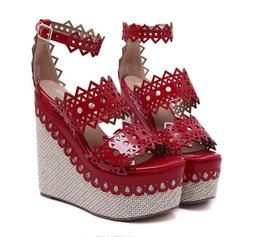 Wholesale Red Platform Wedge Sandals - Fashion ankle strap red black straw woven lace cut platform wedge sandals sexy high heel shoes size 34 to 40