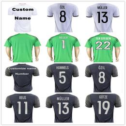 Wholesale Germany Home Soccer Jersey - Germany Soccer Jerseys Muller Gotze Reus Kroos Draxler Neuer OZIL HUMMELS BOATENG SCHWEINSTEIGER Customize Home Away Football Shirt Uniform