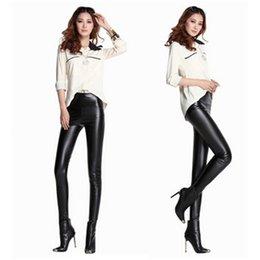 Wholesale Imitation Leather Capris - Elastic Long Pants Women High Waist Imitation leather Pants Leggings Black Sexy Slim Skinny Pencil Pants Trousers Bodycon Capris