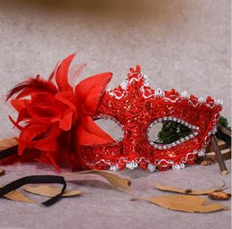 Wholesale Venice Flowers - Flower Halloween Mask Sexy Masquerade Masks Dance Party Bar Venice Princess Mask High-grade Rose Party Mask Supplies