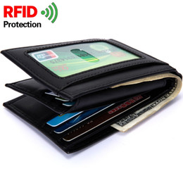 Wholesale Coffee Brown Dress - Baborry RFID Protection Genuine Leather Mens Wallet Carteira Black Coffee Quality 3 Folds Portable Credit Card Holder Branded Purse Wallets